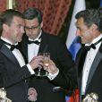 Nicolas Sarkozy et Dmitri Medvedev au prestigieux dîner d'Etat, à l'Elysée. 02/03/2010