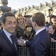Nicolas Sarkozy et Dmitri Medvedev arrivent au musée du Louvre. 02/03/2010