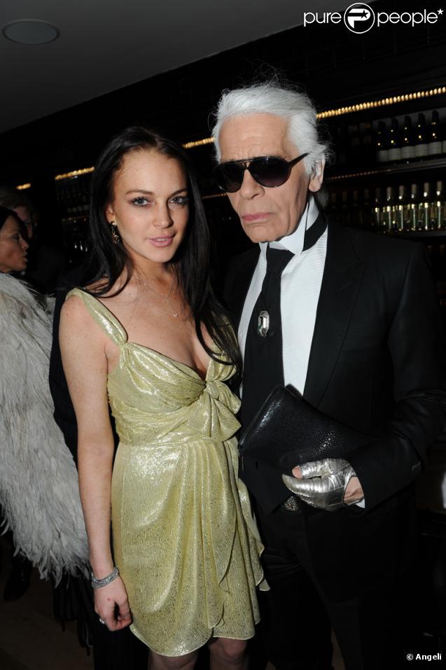 Lindsay Lohan et Karl Lagerfeld au VIP Room Theater le 5 mars 2010