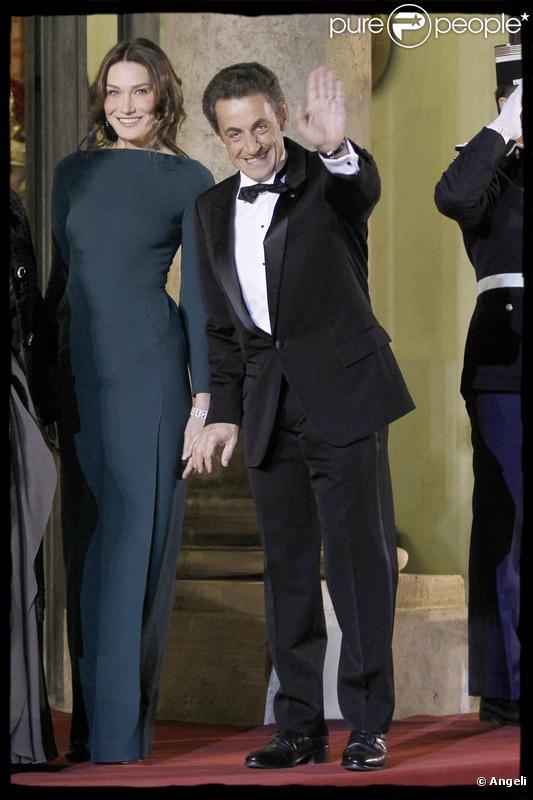 Nicolas Sarkozy et Carla Bruni à l'Elysée lors de la venue du président russe le 2 mars 2010