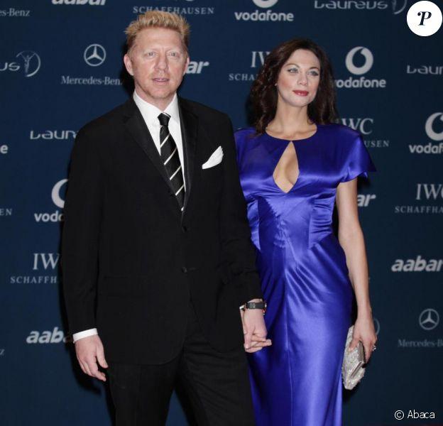 Boris Becker et son épouse Lily Kerssenberg un mois après la naissance du petit Amadeus lors des Laureus World Sports Awards 2010 au Emirates Palace Hôtel à Abu Dhabi le 10 mars 2010 dans les Emirtats Arabes