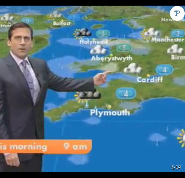 La météo de Steve Carell sur la chaîne britannique GMTV, à Londres, le 1er avril 2010.