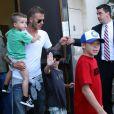 David Beckham et ses fils Brookly, Romeo et Cruz, à Los Angeles, le 23 juillet 2009 !