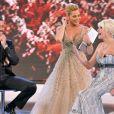 Ivana Trump et son ex-mari Rossano sur le plateau de l'émission italienne L'Isola dei Famosi. 05/05/2010