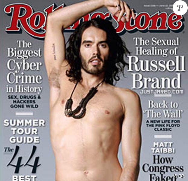 Russell Brand pose en couverture du magazine Rolling Stone.