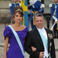 Rania de Jordanie et son époux le roi Abdullah lors du mariage de Victoria de Suède le 19 juin 2010