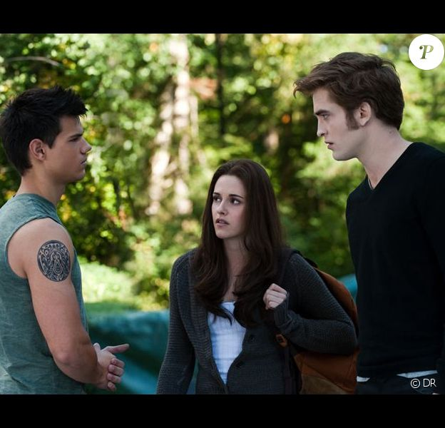 Taylor Lautner, Kristen Stewart et Robert Pattinson dans Twilight Hésitation.
