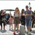 Katie Cassidy et Leighton Meester sur le tournage de la comédie américaine  Monte Carlo , à Paris, le 23 juin 2010.