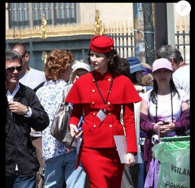 Valérie Lemercier sur le tournage de la comédie américaine Monte Carlo, à Paris, le 23 juin 2010.