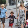 Heidi Klum en famille dans le quartier de Soho à New York, le 7 juillet 2010