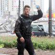 Josh Duhamel, à l'occasion du tournage de  Transformers 3 , de Michael Bay, à Chicago, le 19 juillet 2010.
