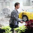 Shia LaBeouf, à l'occasion du tournage de  Transformers 3 , de Michael Bay, à Chicago, le 19 juillet 2010.