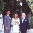 Stéphanie de Monaco avec son père et son mari Daniel Ducruet, le 3 juillet 1995