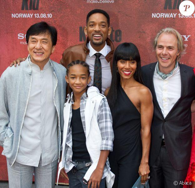 Jackie Chan, Jaden Smith, Will Smith, Jada Pinkett Smith et Harald Zwart lors de l'avant-première de Karate Kid à Friedrikstad en Norvège le 23 juillet 2010