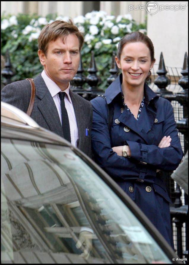 Ewan McGregor et Emily Blunt sur le tournage de Salmon Fishing in the Yemen à Londres le 18 août 2010