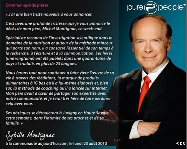 Communiqué de Sybille Montignac pour annoncer le décès de son papa  Michel Montignac...