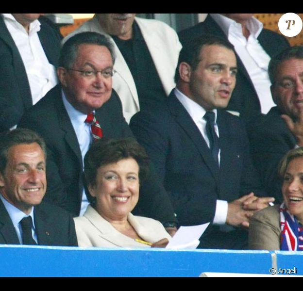 Nicolas Sarkozy, Roselyne Bachelot, Valérie Pécresse et Xavier Bertrand, à l'occasion du match France-Biélorussie, au Stade de France, à Saint-Denis, le 3 septembre 2010.