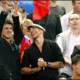 Marc Lavoine et Pascal Obispo, à l'occasion du match France-Biélorussie, au Stade de France, à Saint-Denis, le 3 septembre 2010.