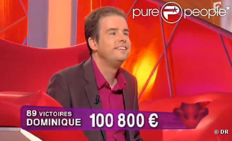 Dominique fête sa 89e victoire et compte plus de 100 000 euros de gains à l'émission Tout le monde veut prendre sa place, animée par Nagui.