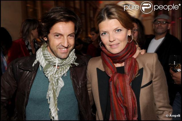 Gwendoline Hamon et son compagnon Frédéric Diefenthal lors de la soirée de lancement de la nouvelle collection de chaussures de Nathalie Garcon dans sa boutique de la Galerie Vivienne et inauguration du pop up store créé pour l'occasion le 27 septemb