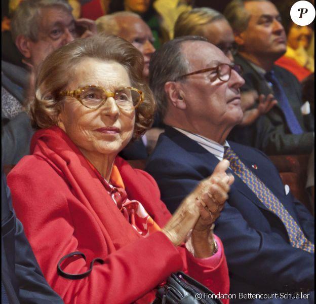Liliane Bettencourt lors de la remise du prix de l'Intelligence de la main à Paris au musée du quai Branly le 18 octobre 2010