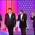 Eddy Mitchell et Michel Drucker à l'enregistrement de l'émission Vivement Dimanche, diffusée le 24 octobre 2010.