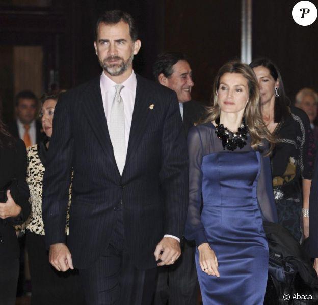 Letizia d'Espagne et le prince Felipe à Oviedo lors des Prince of Asturias awards. Le 22/10/10
