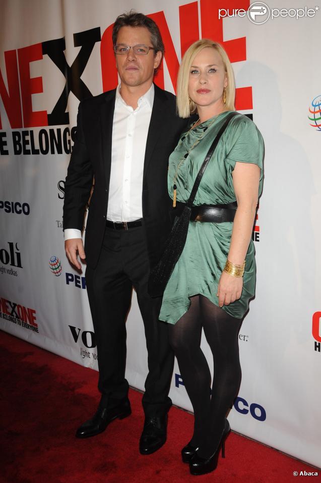 Matt Damon et Patricia Arquette lors du gala de charité de l'association One x One à New York le 27 octobre 2010