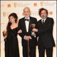 Helena Bonham Carter, Christopher Lee et Tim Burton lors des BAFTA awards à Londres le 13 février 2011