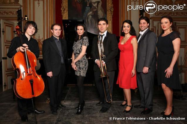 Yan Levionnois (violoncelle) et François Dumont (Piano) nommés pour la révélation soliste remportée par Fabrice Millisher (Trombone) en compagnie de Gaëlle Arquez (soparno) et Alexandre Duhamel (Baryton) nommés pour la révélation lyrique remportée