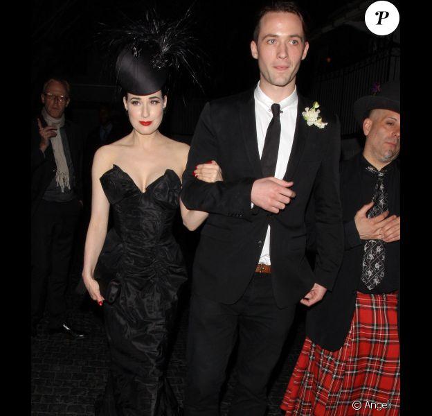 Dita Von Teese et Louis-Marie de Castelbajac au Château Marmont à Los Angeles pour la soirée d'inauguration de la boutique Vivienne Westwood