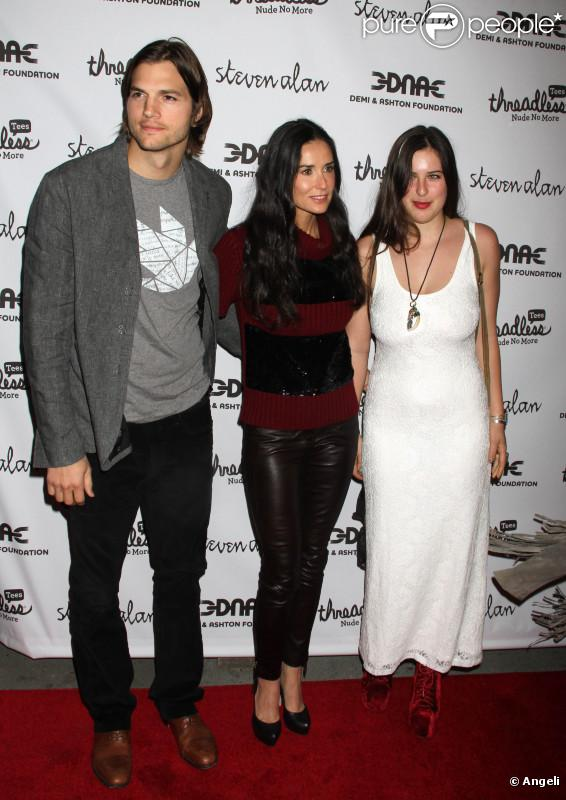 Demi Moore, Ashton Kutcher et Scout LaRue Willis participent à la soirée de lancement de  la campagne  Real men don't buy girls , jeudi 14 avril, à New  York.