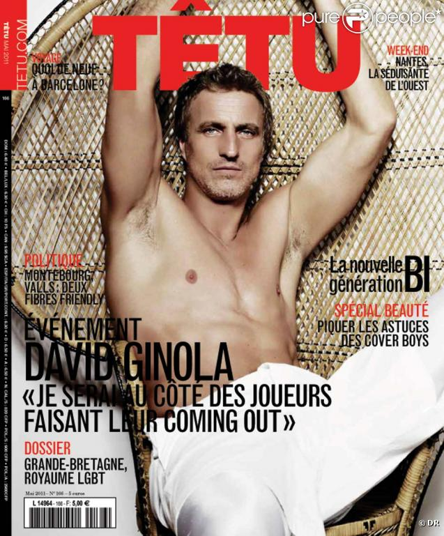 David Ginola en couverture de  Têtu  Magazine, en kiosques le 20 avril 2011.