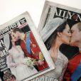 Couvertures des journaux - Kate Middleton et le prince William, le jour de leur mariage, le 29 avril 2011, à Londres.