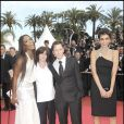 """Chritophe Rocancourt, Catherine Breillat, Naomi Campbell et Farida Khelfa au festival de Cannes, le 21 mai 2008."""