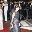 Caroline de Hanovre en Chanel lors du dîner organisé pour le mariage du Prince Albert avec Charlene Wittstock. Monaco, le 2 juillet 2011