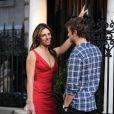 Chace Crawford et Elizabeth Hurley sur le tournage de Gossip Girl, le 13 juillet 2011
