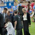 Le Prince Albert de Monaco et la Princesse Charlene lors du meeting d'athéltisme de Monaco de la Ligue de Diamant le 22 juillet 2011