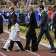 Albert de Monaco et Charlène Wittstock lors du meeting d'athlétisme comptant pour la Ligue de Diamant le 22 juillet 2011