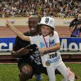 Usain Bolt a remporté haut la main le 100 mètres lors du meeting d'athlétisme comptant pour la Ligue de Diamant le 22 juillet 2011, loin devant Christophe Lemaitre