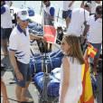 Letizia d'Espagne rejoint son époux Felipe lors de la dernière journée de la Copa del Rey, compétition de laquelle il a terminé 5e. Le 6 août 2011