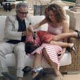 Harvey Keitel et sa femme l'actrice et productrice Daphne Kastner avec leur fils Roman à Palma de Majorque le 24 juillet 2011