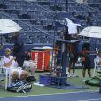 Andy Roddick menait 3-1 dans son match face à l'Espagnol David Ferrer lorsque la pluie s'en est mêlée conduisant à l'interruption du match le 7 septembre 2011