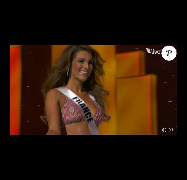 Laury Thilleman, à Sao Paulo, le vendredi 9 septembre, à l'occasion du tour préliminaire de l'élection de Miss Univers 2011.