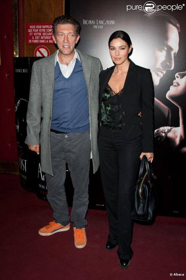 Vincent Cassel et Monica Bellucci lors de la projection de The Artist, le 28 septembre 2011.