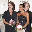 Caroline de Monaco, le prince Albert et Stéphanie lors du 30e anniversaire du Théâtre Princesse Grace, le 3 octobre 2011.