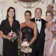 Caroline de Monaco, le prince Albert et Stéphanie, accompagnés de Cyrielle Clair lors du 30e anniversaire du Théâtre Princesse Grace, le 3 octobre 2011.
