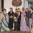 Caroline de Monaco, le prince Albert et Stéphanie lors du 30e anniversaire du Théâtre Princesse Grace, le 3 octobre 2011. les comédiens Cyrielle Clair et Olivier Lejeune sont à leurs côtés.