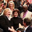 Gérard Depardieu, extrêmement ému en présence de ses amis Edouard Baer (de dos) et Laurent Gerra, a été mis à l'honneur par le  Festival Lumière, qui lui a décerné le 8 octobre à Lyon et devant ses  amis du métier le Prix Lumière 2011 pour l'ensemble de son oeuvre.