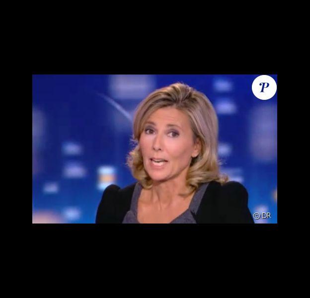 Claire Chazal, sur le plateau du JT de 20 heures de TF1, dimanche 18 septembre 2011.